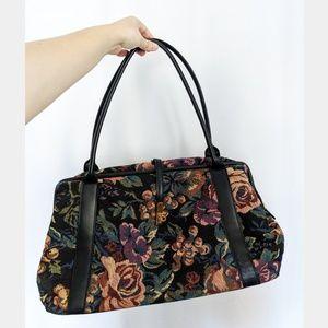 Vintage Floral Tapestry Weekender Overnight Bag